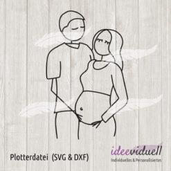 Plotterdatei Strichmännchen Paar schwanger ideeviduell