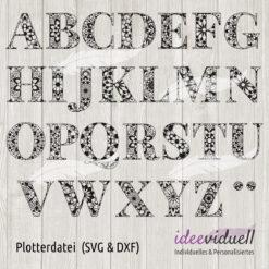 Plotterdatei Mandala Alphabet ideeviduell