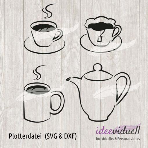Plotterdatei Tee Kaffee LineArt ideeviduell
