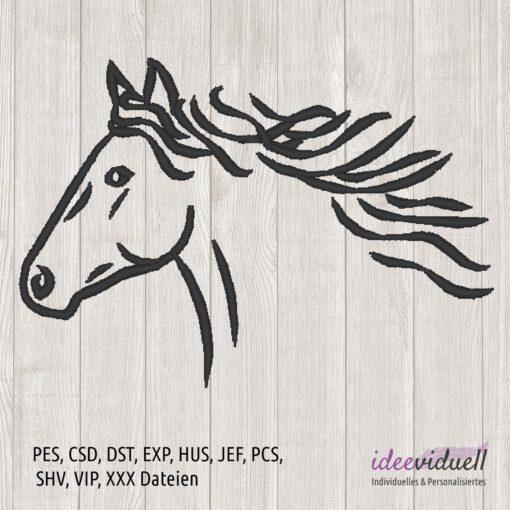 Stickdatei Pferd LineArt ideeviduell