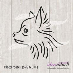 Plotterdatei Langhaar Chihuahua LineArt ideeviduell