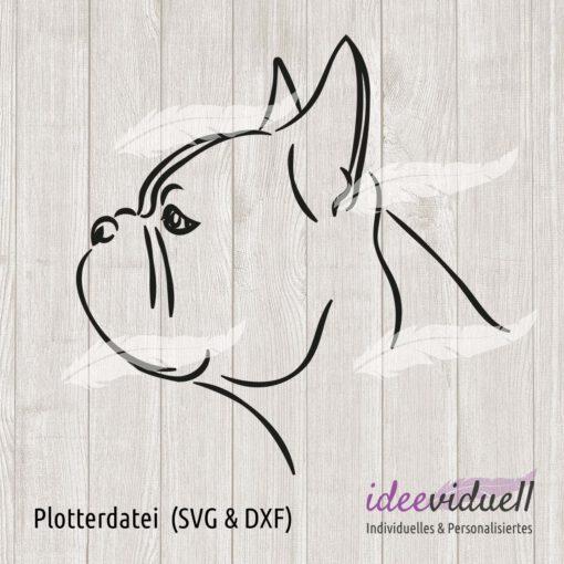 Plotterdatei französische Bulldogge LineArt ideeviduell